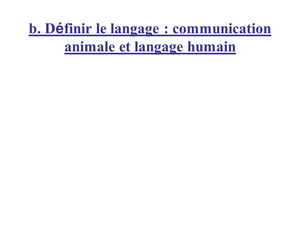 b. D é finir le langage : communication animale et langage humain