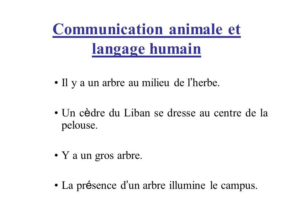 Communication animale et langage humain Il y a un arbre au milieu de l herbe. Un c è dre du Liban se dresse au centre de la pelouse. Y a un gros arbre