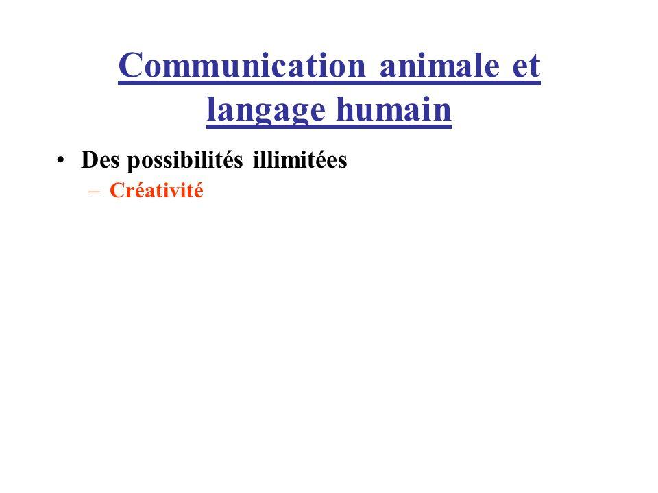 Communication animale et langage humain Des possibilités illimitées –Créativité