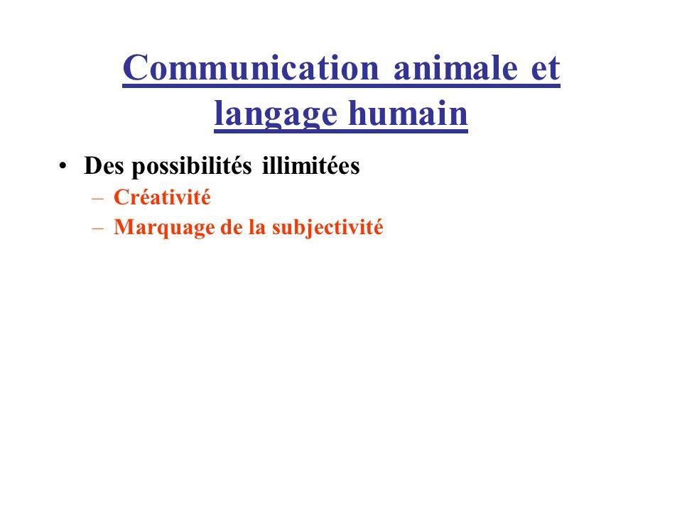 Communication animale et langage humain Des possibilités illimitées –Créativité –Marquage de la subjectivité