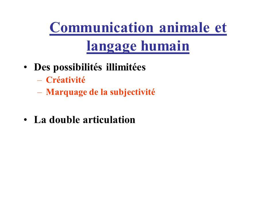 Communication animale et langage humain Des possibilités illimitées –Créativité –Marquage de la subjectivité La double articulation