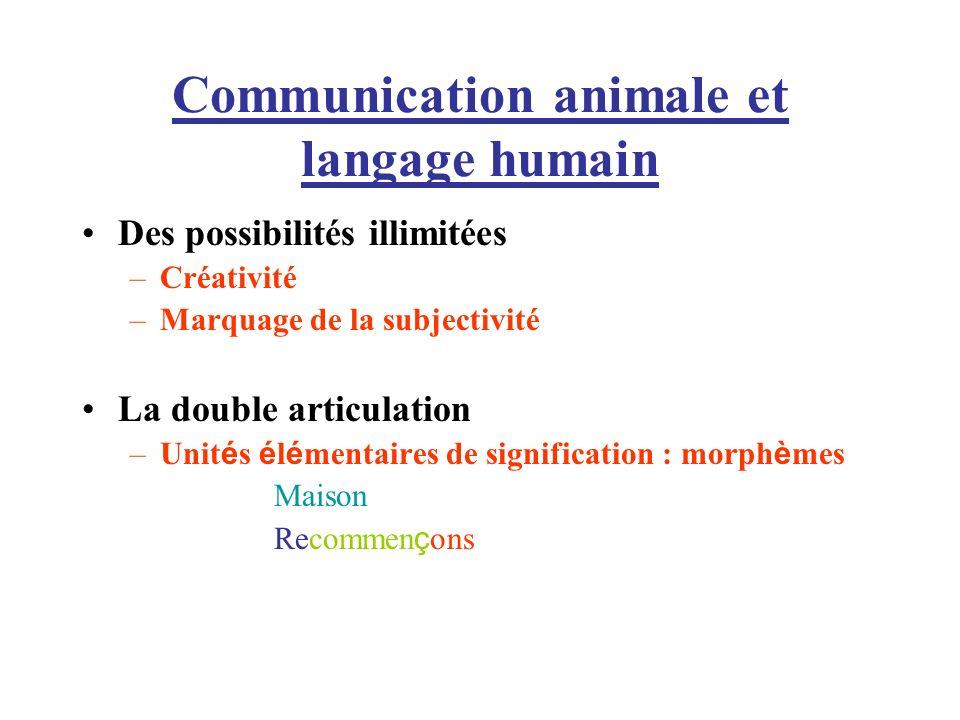 Communication animale et langage humain Des possibilités illimitées –Créativité –Marquage de la subjectivité La double articulation –Unit é s é l é me