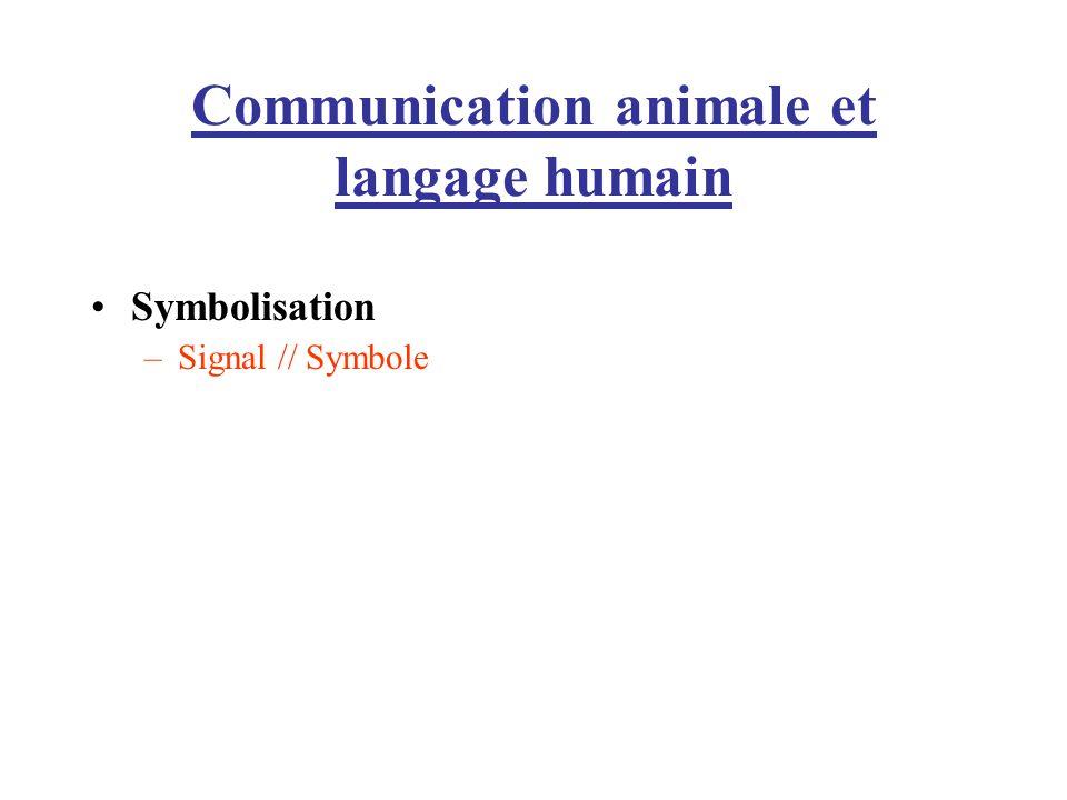 Communication animale et langage humain Symbolisation –Signal // Symbole