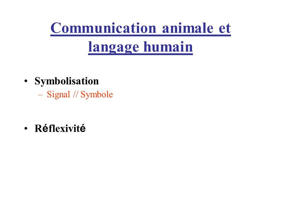 Communication animale et langage humain Symbolisation –Signal // Symbole R é flexivit é