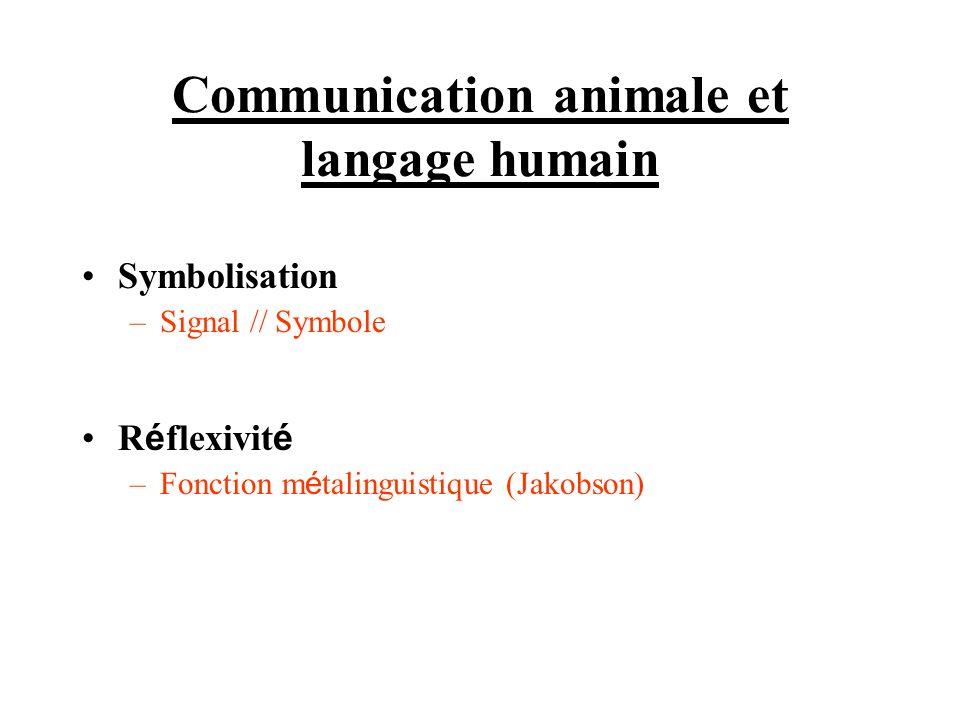 Communication animale et langage humain Symbolisation –Signal // Symbole R é flexivit é –Fonction m é talinguistique (Jakobson)