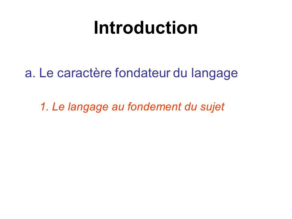 Introduction a. Le caractère fondateur du langage 1. Le langage au fondement du sujet