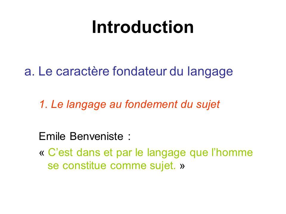 Introduction a. Le caractère fondateur du langage 1. Le langage au fondement du sujet Emile Benveniste : « Cest dans et par le langage que lhomme se c