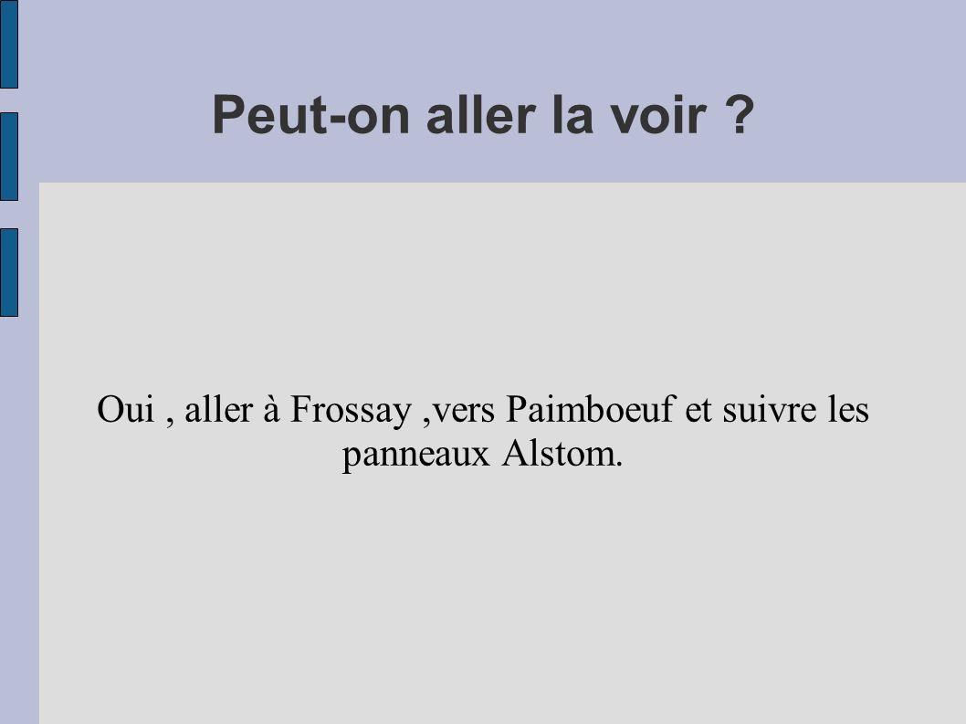 Peut-on aller la voir ? Oui, aller à Frossay,vers Paimboeuf et suivre les panneaux Alstom.