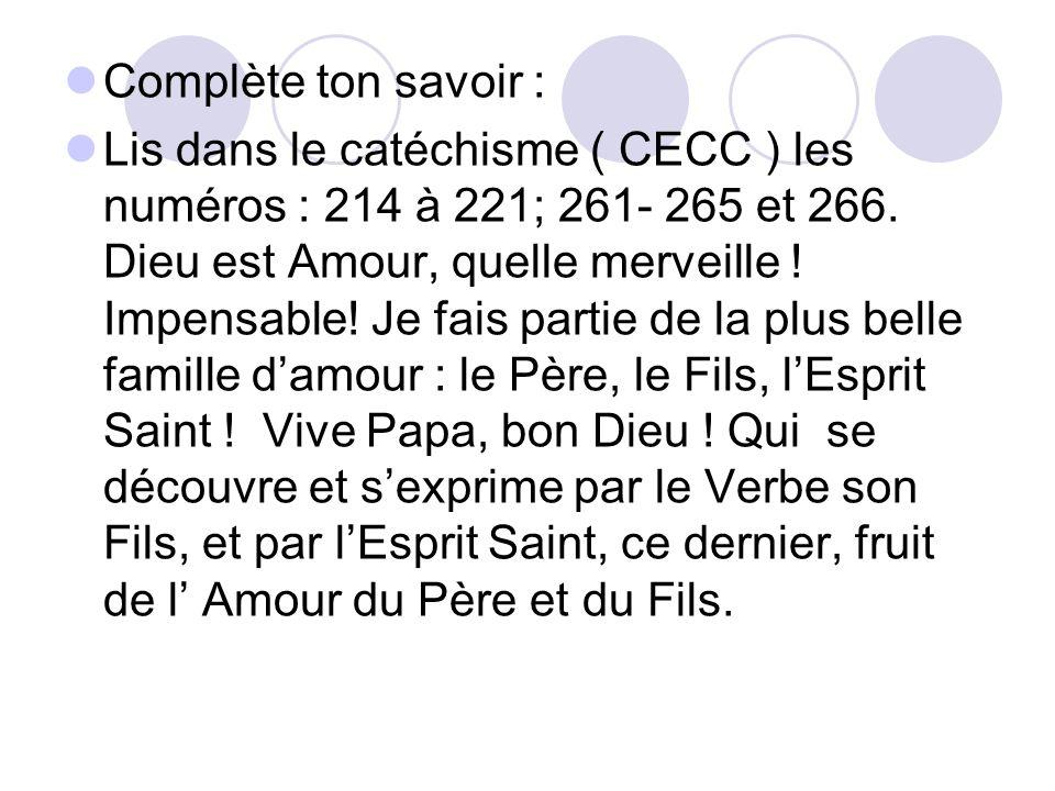 Complète ton savoir : Lis dans le catéchisme ( CECC ) les numéros : 214 à 221; 261- 265 et 266. Dieu est Amour, quelle merveille ! Impensable! Je fais