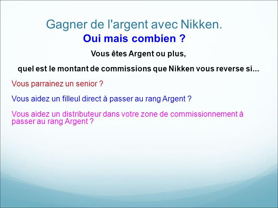 Gagner de l'argent avec Nikken. Oui mais combien ? Vous êtes Argent ou plus, quel est le montant de commissions que Nikken vous reverse si... Vous par