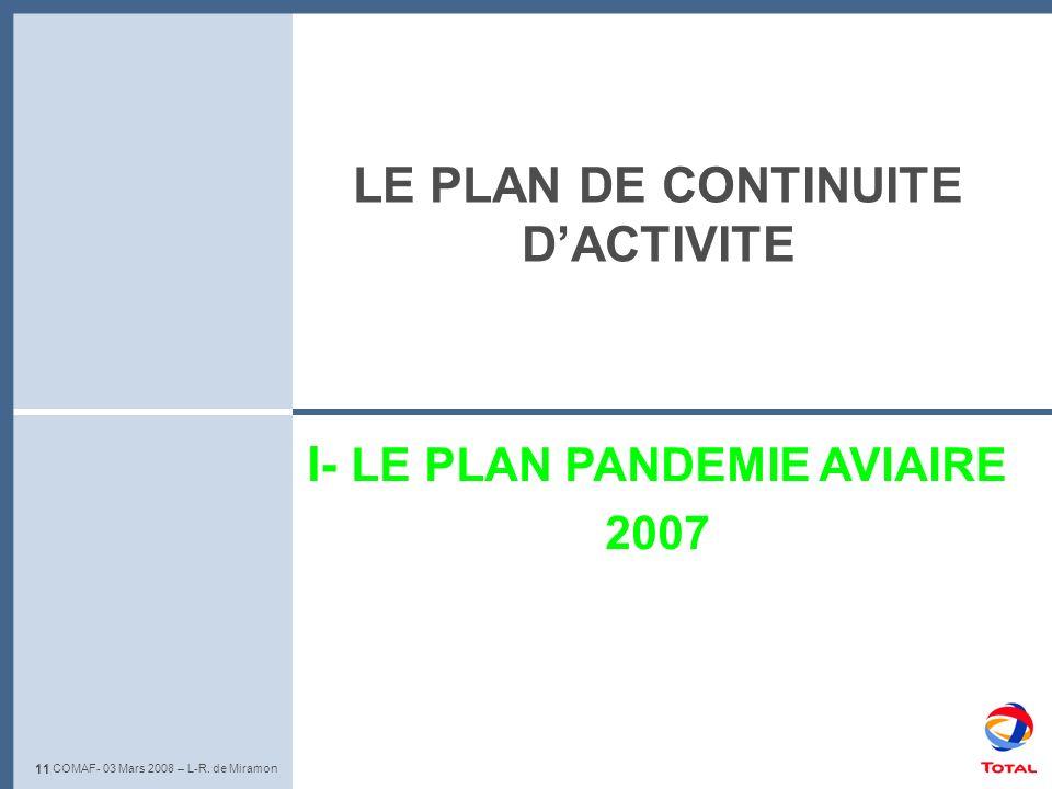 11 L-R. de Miramon – Club de lIris - 22 Mai 2008 I- LE PLAN PANDEMIE AVIAIRE 2007 11 COMAF- 03 Mars 2008 – L-R. de Miramon LE PLAN DE CONTINUITE DACTI
