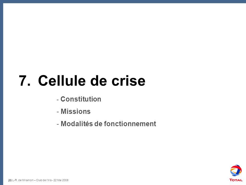 26 L-R. de Miramon – Club de lIris - 22 Mai 2008 7.Cellule de crise - Constitution - Missions - Modalités de fonctionnement