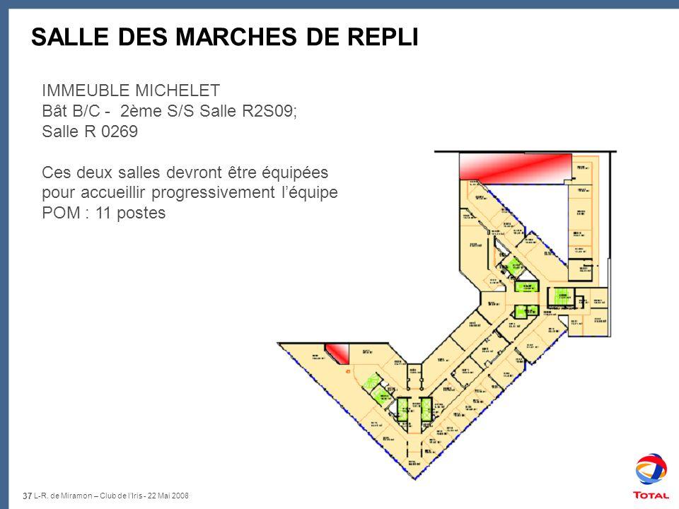 37 L-R. de Miramon – Club de lIris - 22 Mai 2008 SALLE DES MARCHES DE REPLI IMMEUBLE MICHELET Bât B/C - 2ème S/S Salle R2S09; Salle R 0269 Ces deux sa