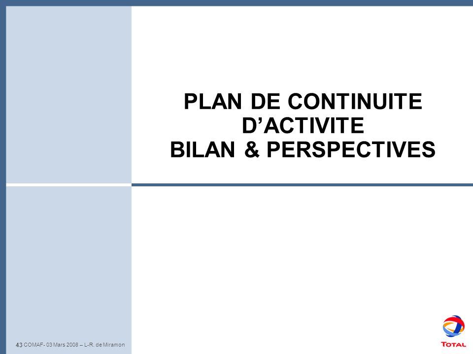 43 L-R. de Miramon – Club de lIris - 22 Mai 2008 PLAN DE CONTINUITE DACTIVITE BILAN & PERSPECTIVES 43 COMAF- 03 Mars 2008 – L-R. de Miramon