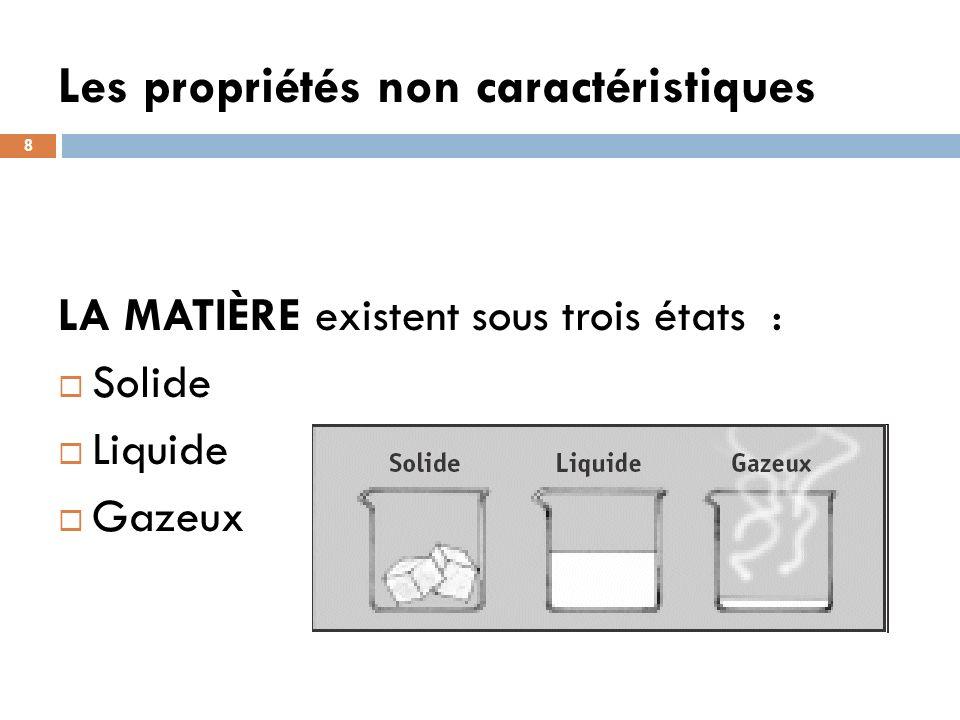 Les propriétés non caractéristiques 8 LA MATIÈRE existent sous trois états : Solide Liquide Gazeux