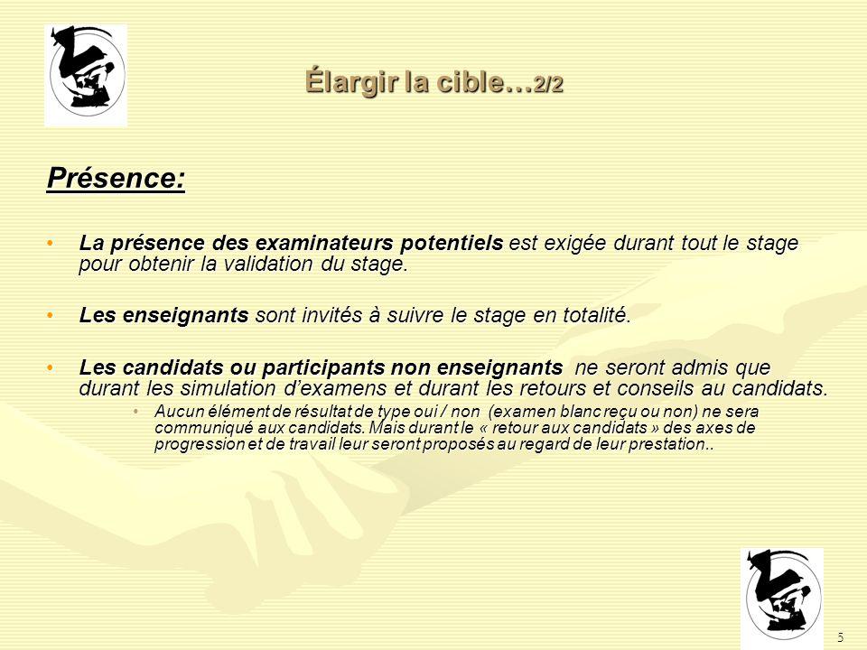 5 Élargir la cible… 2/2 Présence: La présence des examinateurs potentiels est exigée durant tout le stage pour obtenir la validation du stage.La présence des examinateurs potentiels est exigée durant tout le stage pour obtenir la validation du stage.