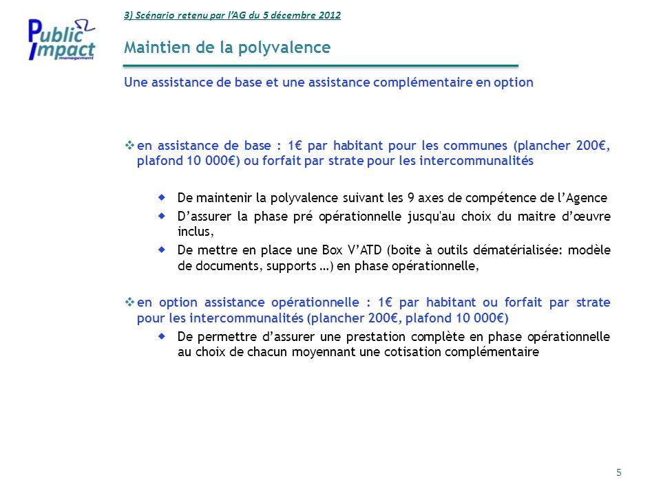 Maintien de la polyvalence Une assistance de base et une assistance complémentaire en option 3) Scénario retenu par lAG du 5 décembre 2012 5 en assist