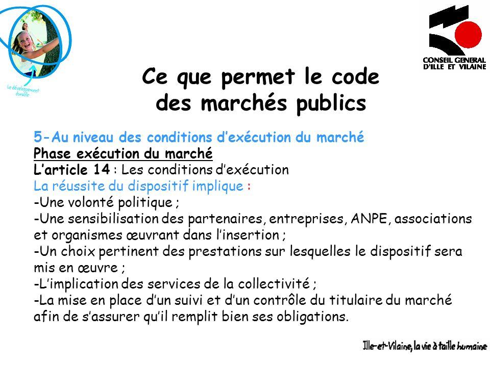 Ce que permet le code des marchés publics 5-Au niveau des conditions dexécution du marché Phase exécution du marché Larticle 14 : Les conditions dexéc