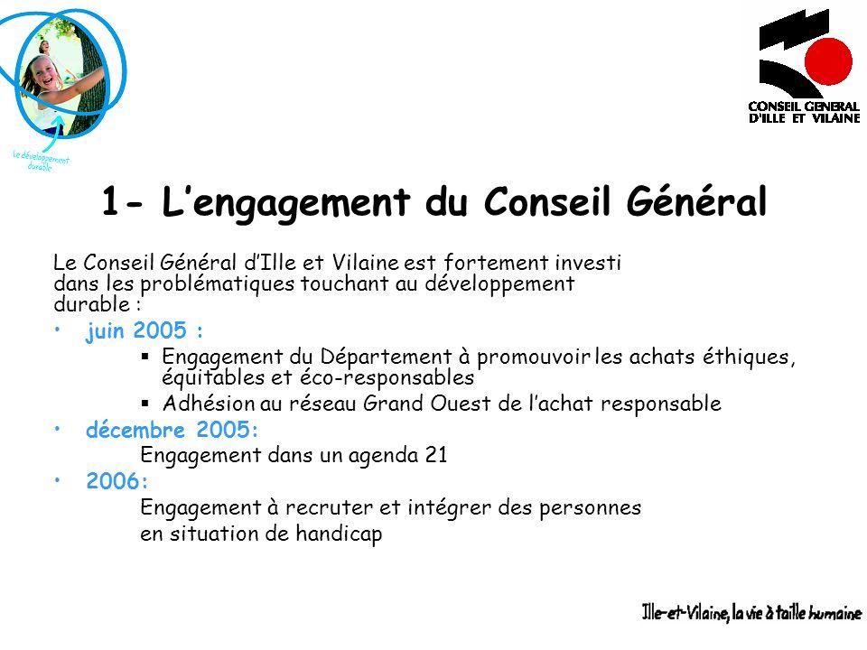 1- Lengagement du Conseil Général Le Conseil Général dIlle et Vilaine est fortement investi dans les problématiques touchant au développement durable