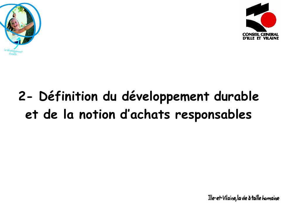 2- Définition du développement durable et de la notion dachats responsables