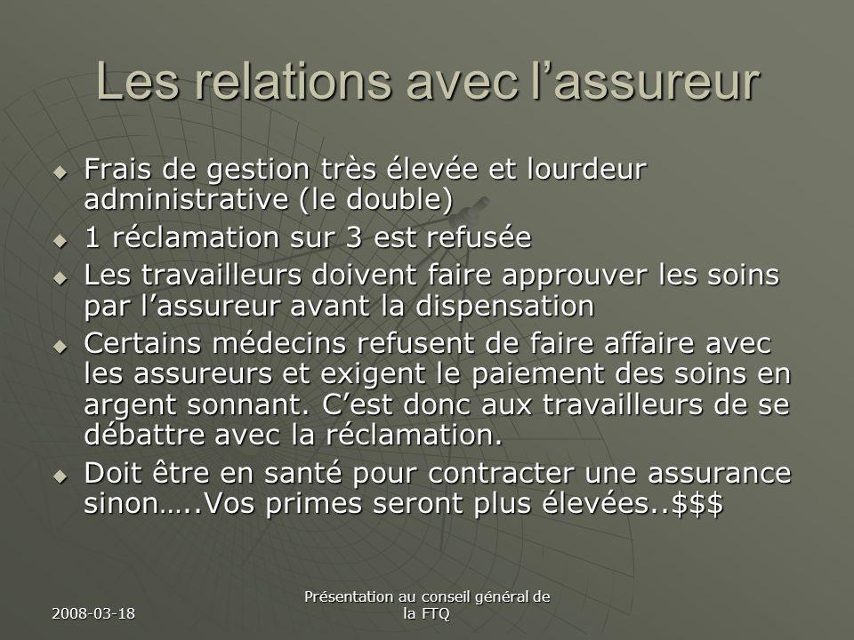 2008-03-18 Présentation au conseil général de la FTQ Les relations avec lassureur Frais de gestion très élevée et lourdeur administrative (le double)