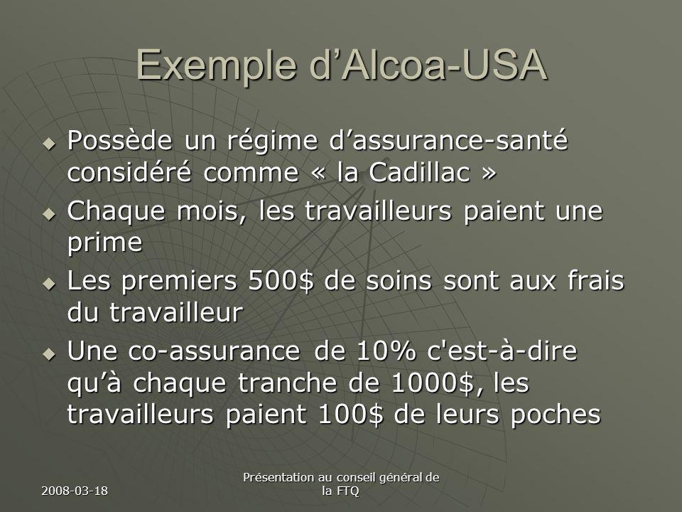 2008-03-18 Présentation au conseil général de la FTQ Exemple dAlcoa-USA Possède un régime dassurance-santé considéré comme « la Cadillac » Possède un