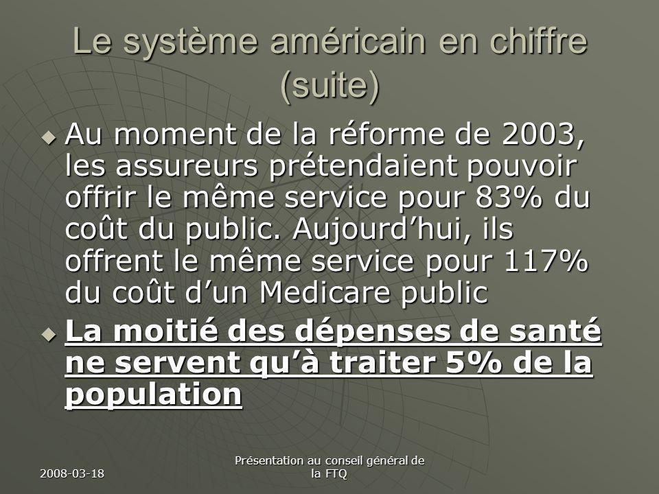 2008-03-18 Présentation au conseil général de la FTQ Le système américain en chiffre (suite) Au moment de la réforme de 2003, les assureurs prétendaient pouvoir offrir le même service pour 83% du coût du public.