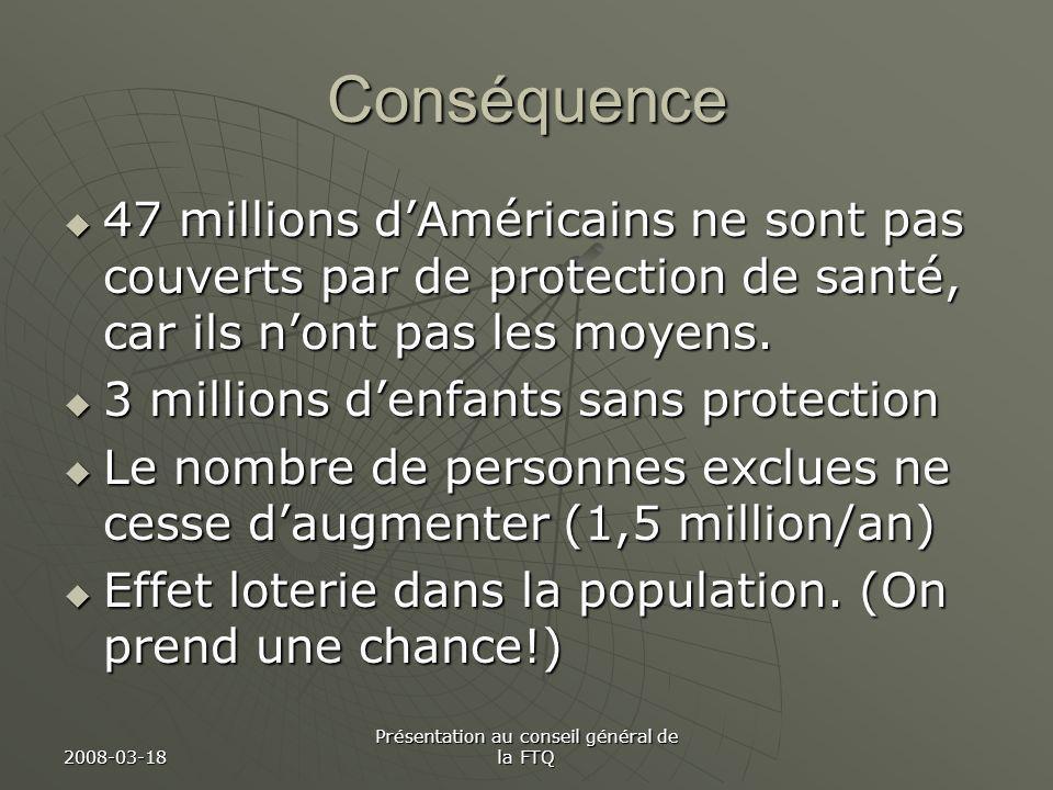 2008-03-18 Présentation au conseil général de la FTQ Conséquence 47 millions dAméricains ne sont pas couverts par de protection de santé, car ils nont pas les moyens.