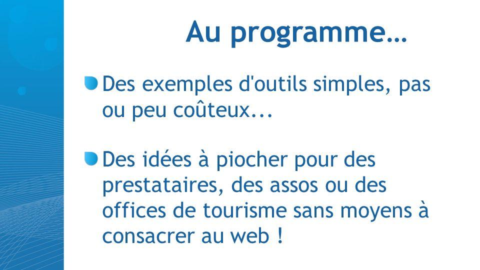 Les bidouilleurs du jour : Nicolas Monseigne, chargé de mission tourisme au Pays Médoc (33) Twitter : @mon_etourisme Hervé Rieu, Directeur OT du Haut-Couserans (09)