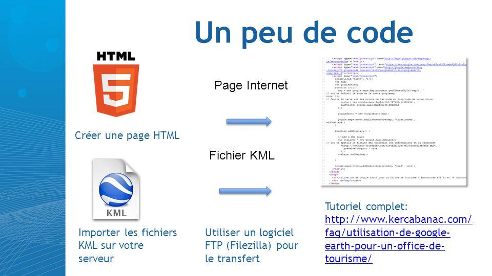 Un peu de code Importer les fichiers KML sur votre serveur Page Internet Utiliser un logiciel FTP (Filezilla) pour le transfert Fichier KML Créer une