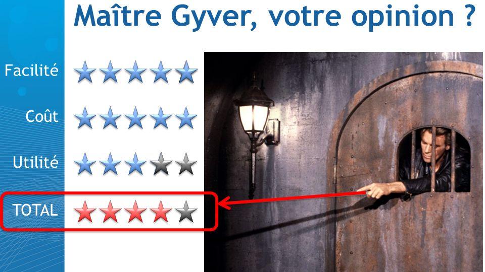 Maître Gyver, votre opinion ? Facilité Coût Utilité TOTAL