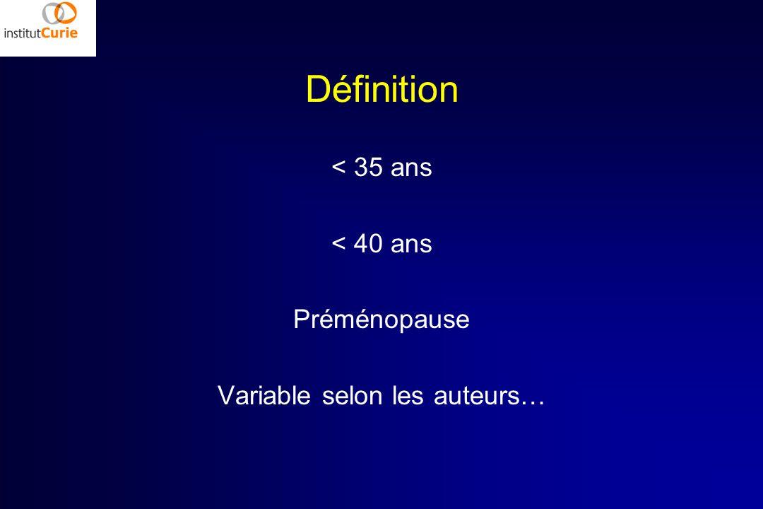 Définition < 35 ans < 40 ans Préménopause Variable selon les auteurs…