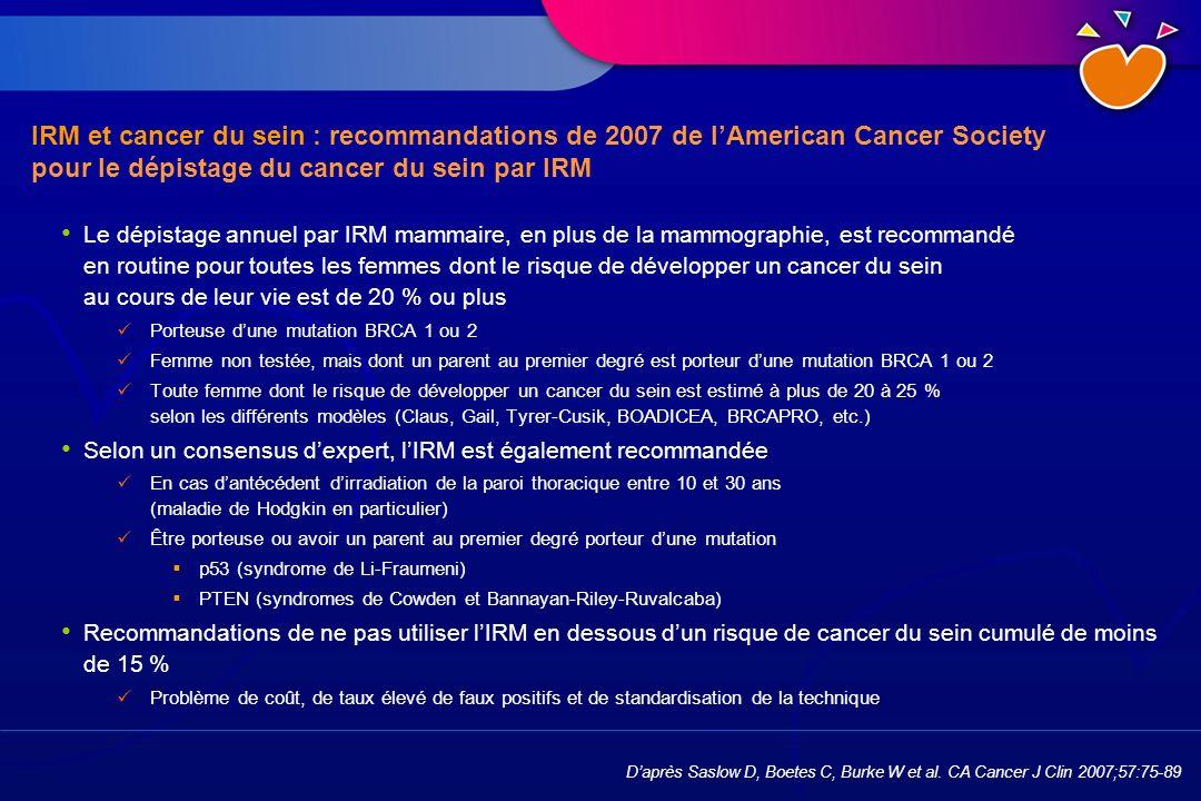 IRM et cancer du sein : recommandations de 2007 de lAmerican Cancer Society pour le dépistage du cancer du sein par IRM Le dépistage annuel par IRM ma