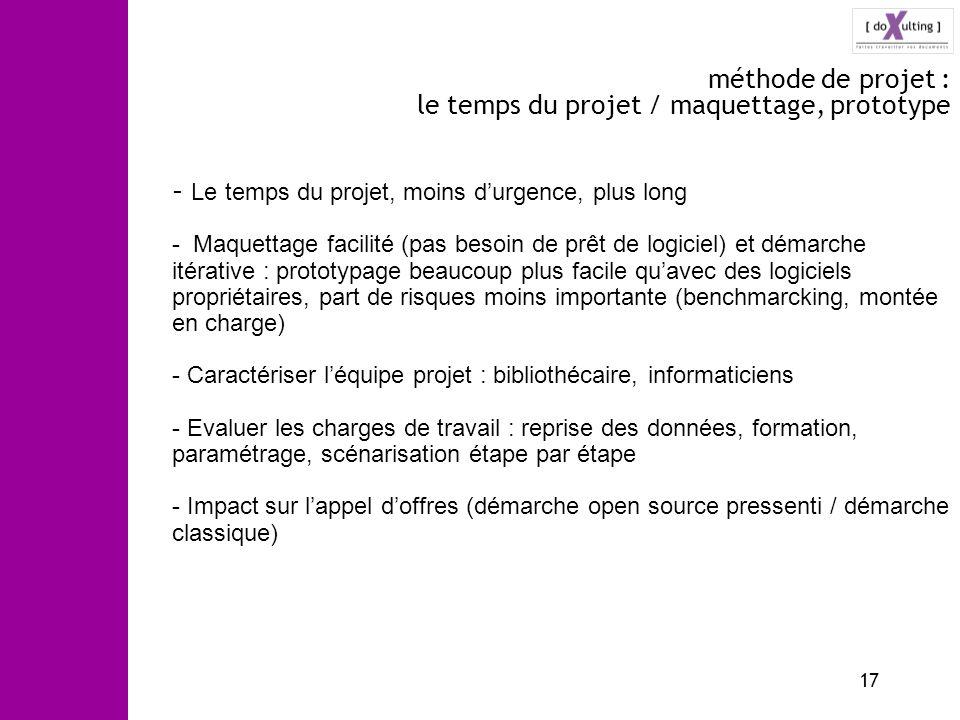 17 méthode de projet : le temps du projet / maquettage, prototype - Le temps du projet, moins durgence, plus long - Maquettage facilité (pas besoin de