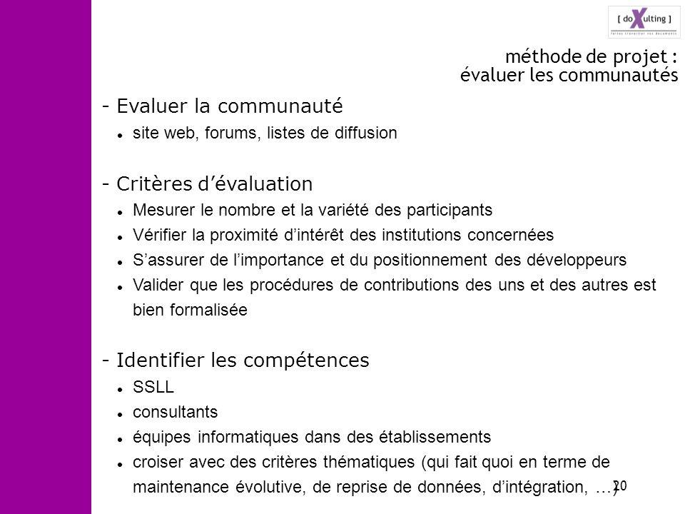 20 méthode de projet : évaluer les communautés - Evaluer la communauté site web, forums, listes de diffusion - Critères dévaluation Mesurer le nombre