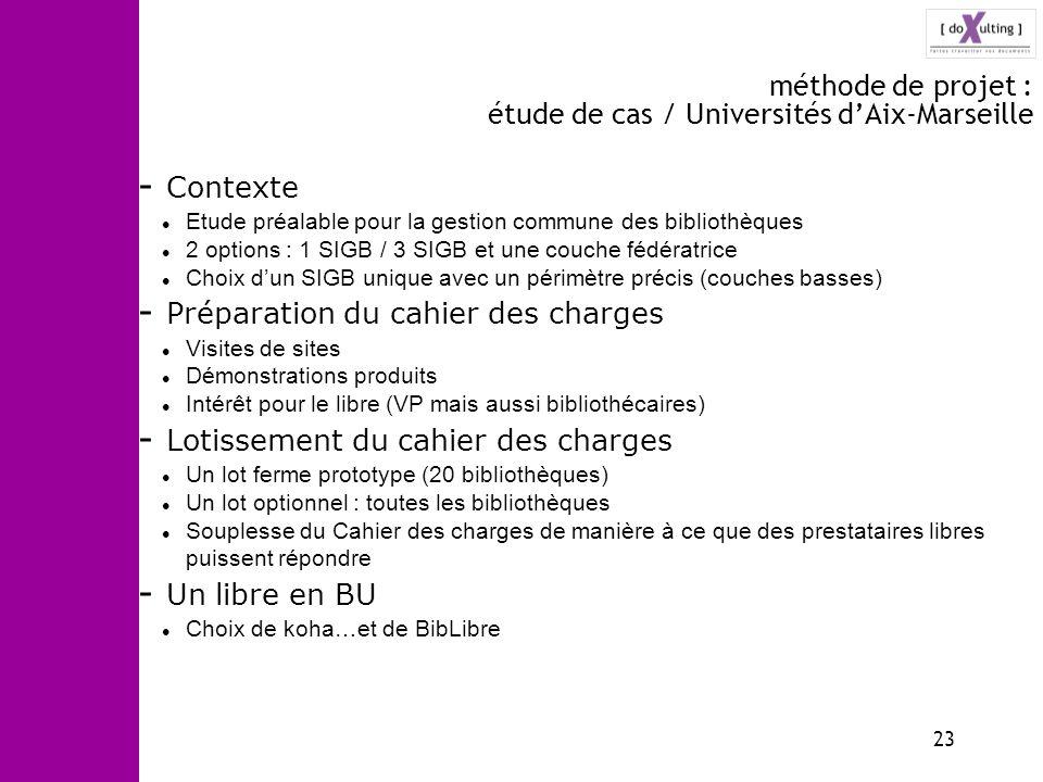 23 méthode de projet : étude de cas / Universités dAix-Marseille - Contexte Etude préalable pour la gestion commune des bibliothèques 2 options : 1 SI