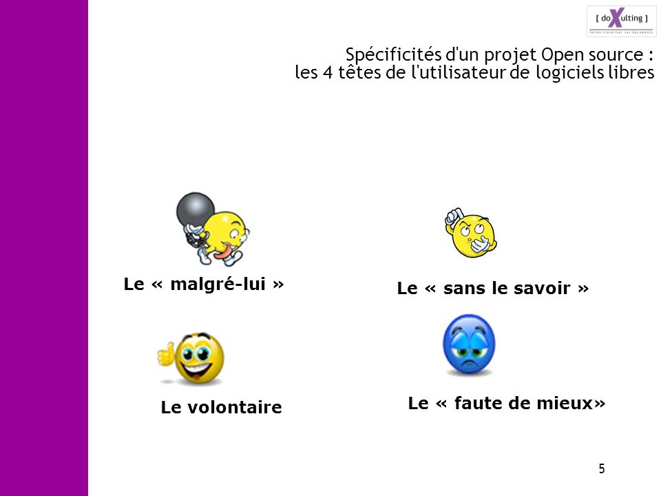 5 Spécificités d'un projet Open source : les 4 têtes de l'utilisateur de logiciels libres Le « malgré-lui » Le « sans le savoir » Le « faute de mieux»