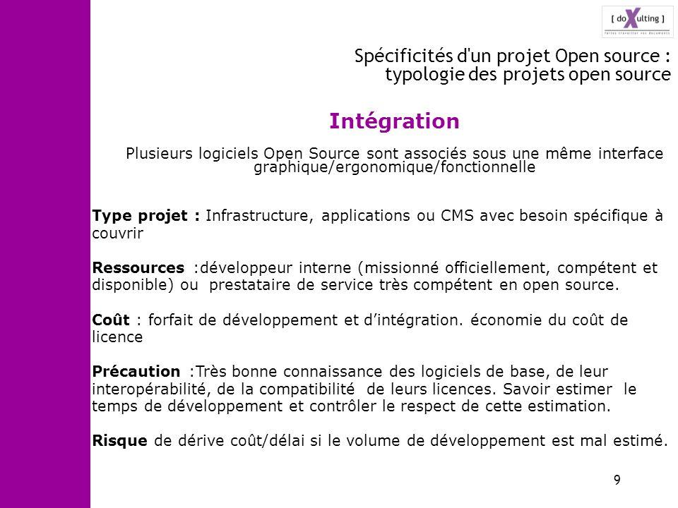9 Spécificités d'un projet Open source : typologie des projets open source Intégration Plusieurs logiciels Open Source sont associés sous une même int