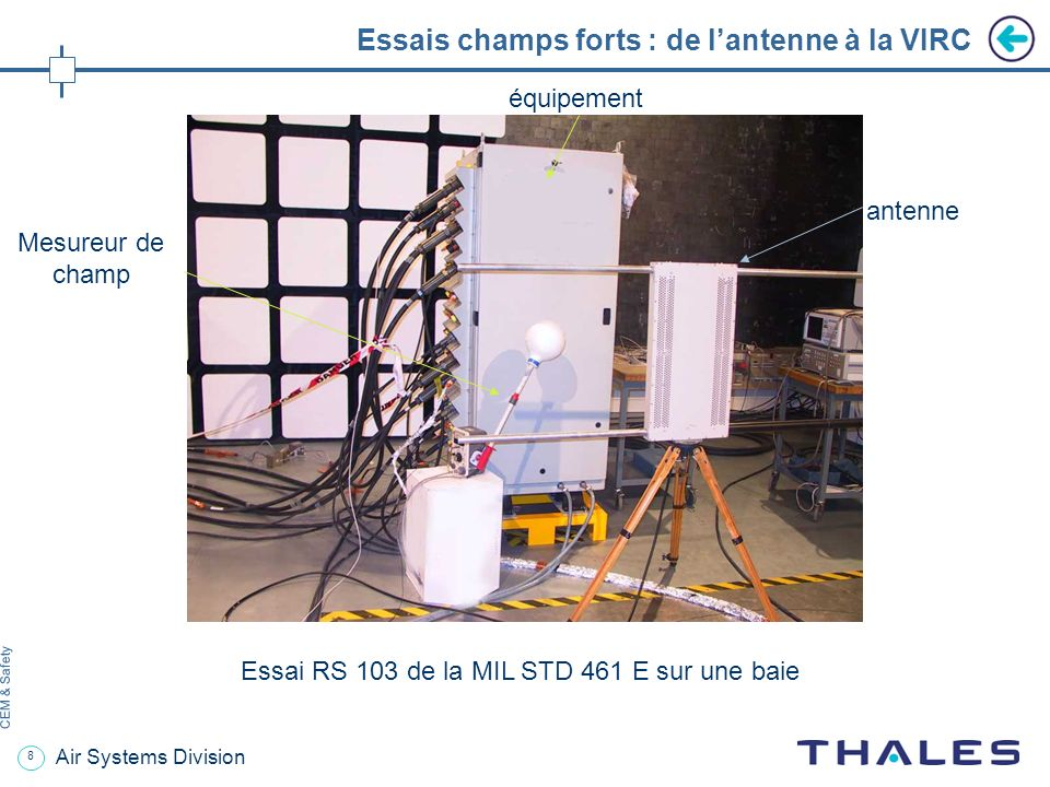 8 CEM & Safety Air Systems Division Essais champs forts : de lantenne à la VIRC Essai RS 103 de la MIL STD 461 E sur une baie antenne Mesureur de champ équipement
