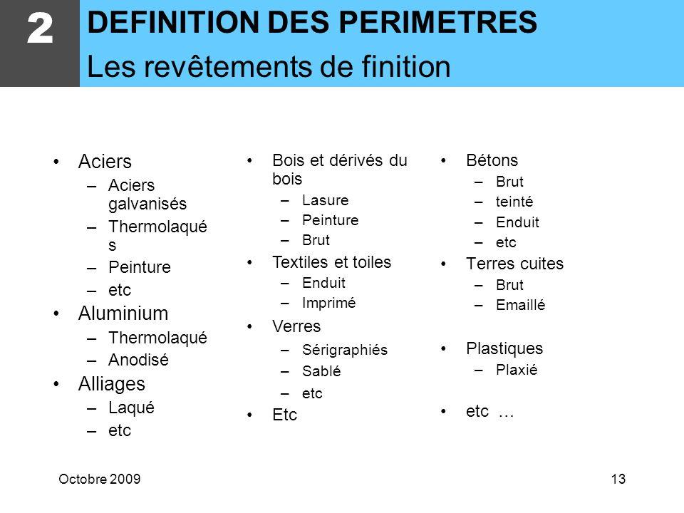 Octobre 200912 Aciers –Standard –Inox A2, A4,… –Acier corten –Acier galva –etc Aluminium Fontes –Dacier –Daluminium Alliages –Bronze, … Verres –Trempé