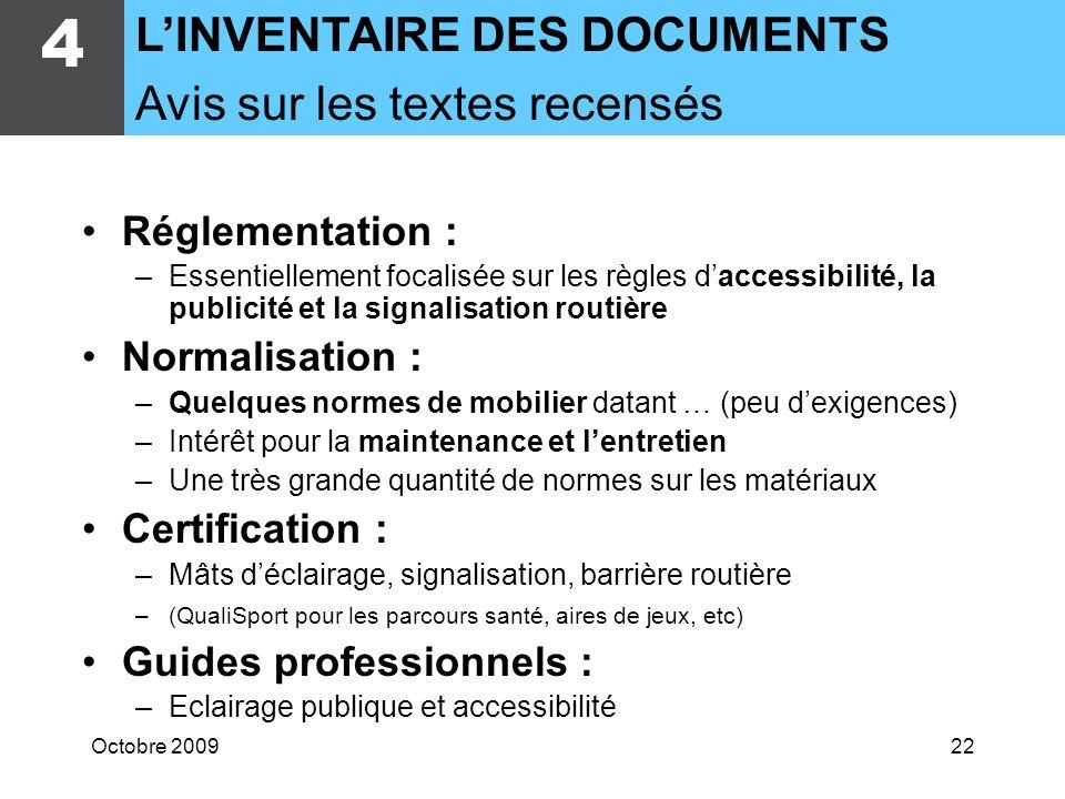Octobre 200921 RéférenceTitre Date Mots-clés 4 LINVENTAIRE DES DOCUMENTS Présentation des documents identifiés