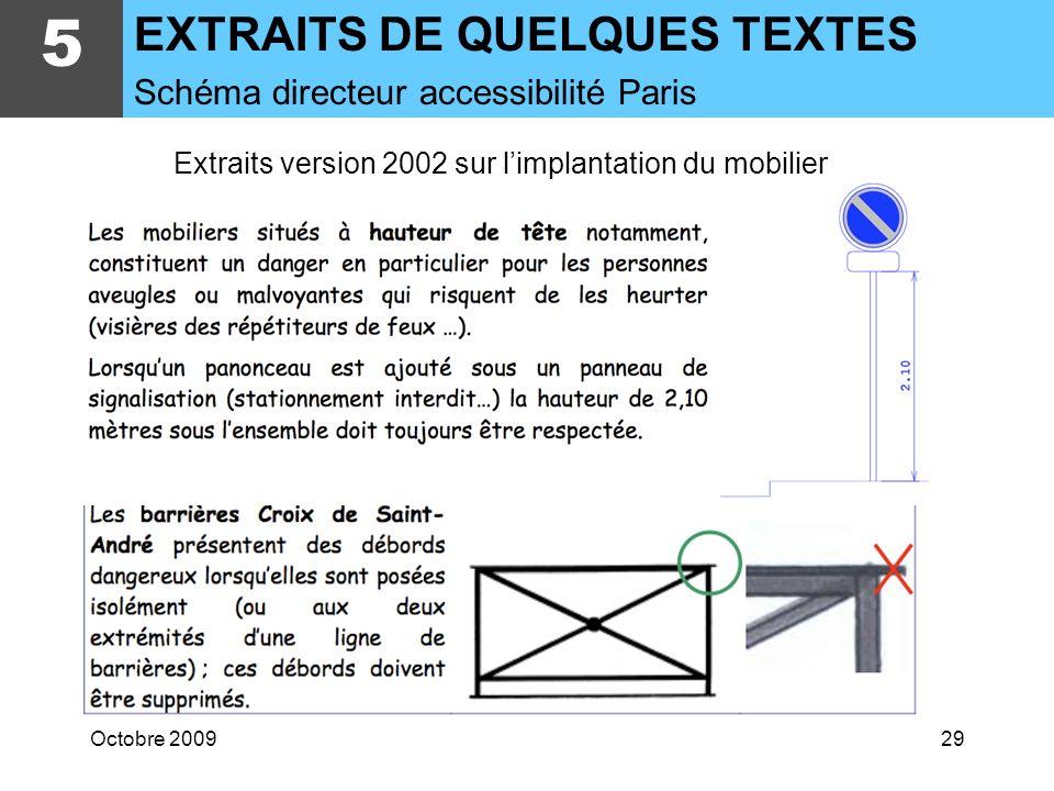 Octobre 200928 Extraits version 2002 sur limplantation du mobilier Un passage minimum de 0,90 mètre (1,20 m si possible) doit être ménagé entre les di
