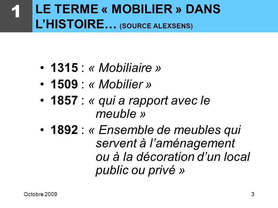 Octobre 20093 1315 : « Mobiliaire » 1509 : « Mobilier » 1857 : « qui a rapport avec le meuble » 1892 : « Ensemble de meubles qui servent à laménagement ou à la décoration dun local public ou privé » 1 LE TERME « MOBILIER » DANS LHISTOIRE… (SOURCE ALEXSENS)
