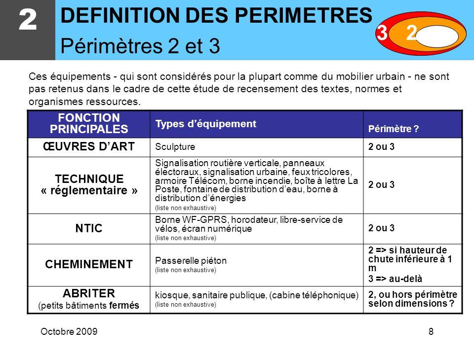 Octobre 20098 2 DEFINITION DES PERIMETRES Périmètres 2 et 3 FONCTION PRINCIPALES Types déquipement Périmètre .