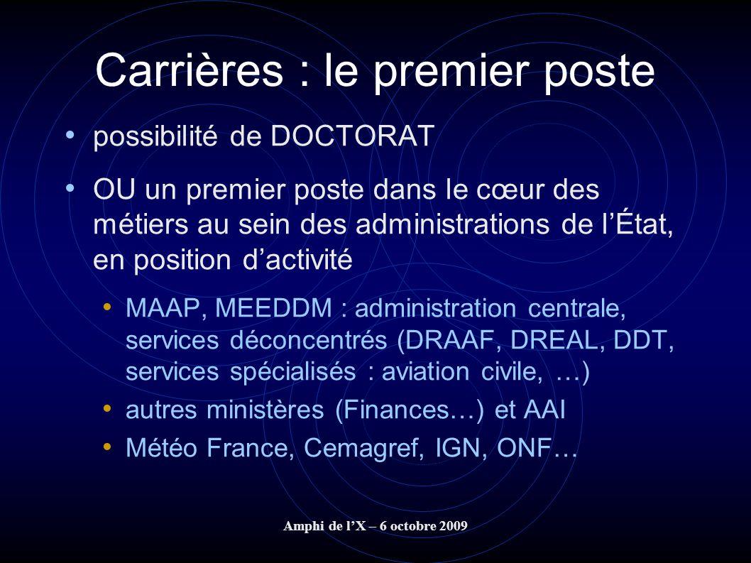 Amphi de lX – 6 octobre 2009 Carrières : le premier poste possibilité de DOCTORAT OU un premier poste dans le cœur des métiers au sein des administrat