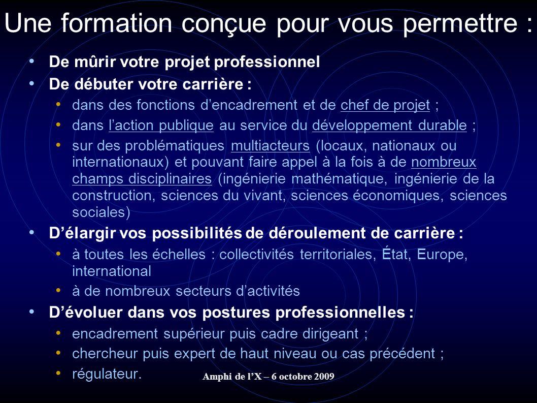 Amphi de lX – 6 octobre 2009 Une formation conçue pour vous permettre : De mûrir votre projet professionnel De débuter votre carrière : dans des fonct