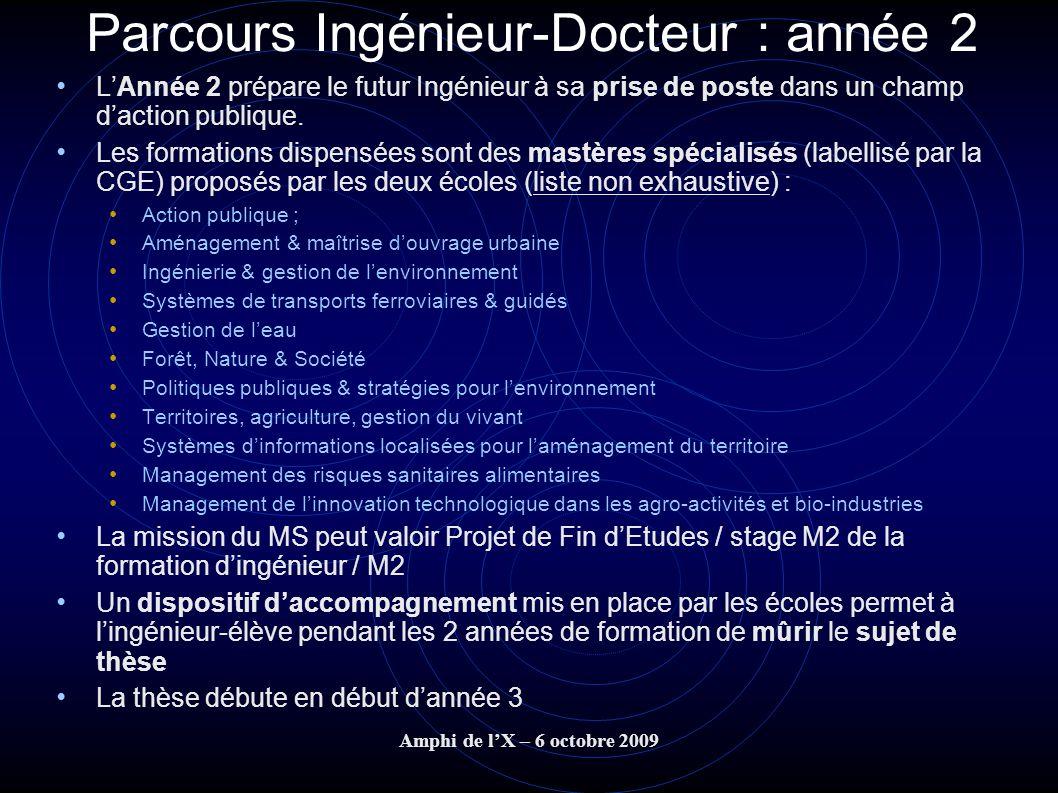 Amphi de lX – 6 octobre 2009 Parcours Ingénieur-Docteur : année 2 LAnnée 2 prépare le futur Ingénieur à sa prise de poste dans un champ daction publiq