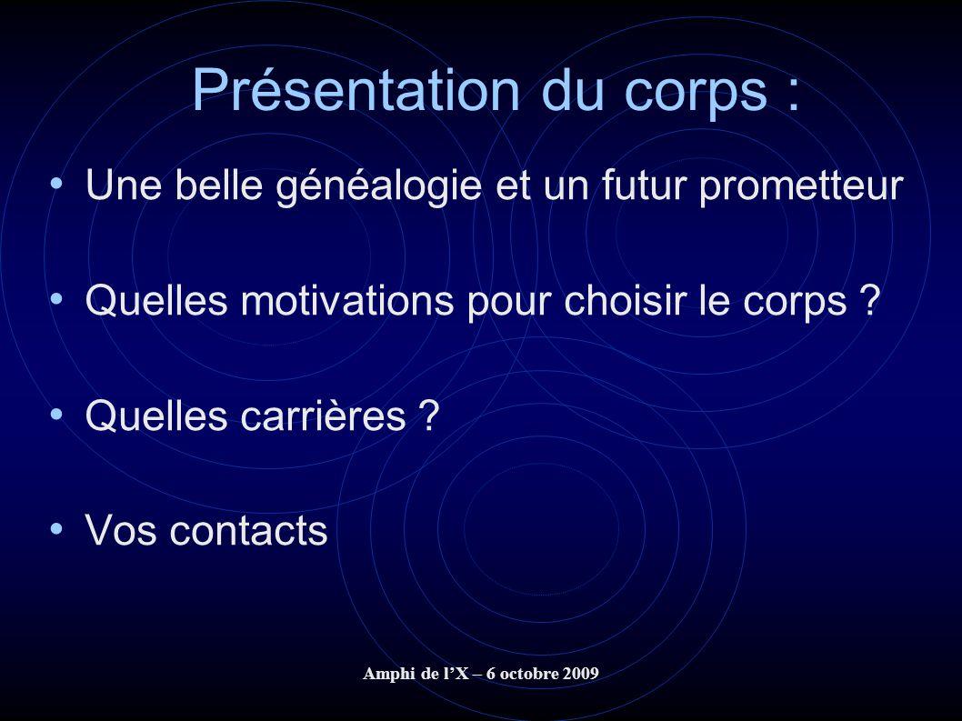Amphi de lX – 6 octobre 2009 Présentation du corps : Une belle généalogie et un futur prometteur Quelles motivations pour choisir le corps ? Quelles c