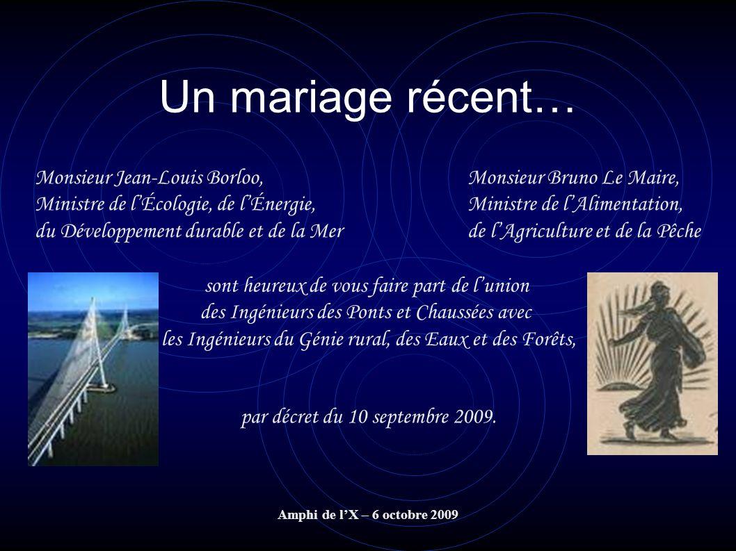 Amphi de lX – 6 octobre 2009 Un mariage récent… Monsieur Jean-Louis Borloo, Ministre de lÉcologie, de lÉnergie, du Développement durable et de la Mer