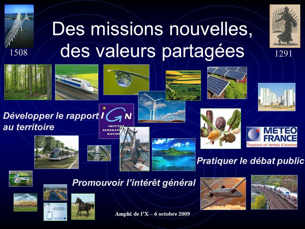 Amphi de lX – 6 octobre 2009 Des missions nouvelles, des valeurs partagées 1508 1291 Promouvoir lintérêt général Pratiquer le débat public Développer